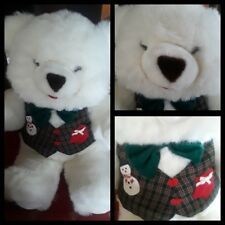 Extra Large White Plush Stuffed Christmas Bear 2ft Green Bowtie Tartan Vest abb