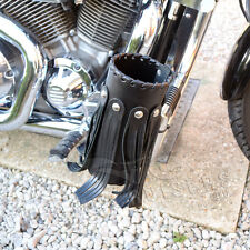 MOTORCYCLE BIKER LEATHER LARGE CUP DRINK CAN BOTTLE HOLDER WITH RIVETS / TASSELS