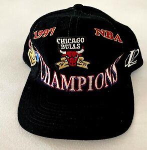 Vintage Black 1997 Chicago Bulls Locker Room Championship Cap Hat Logo Athletic