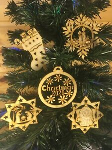 Handmade Wooden Christmas Decorations x 5