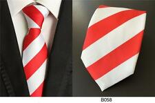 Red and White Stripe Patterned Handmade 100% Silk Wedding Tie