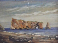 Vintage Seascape Oil Painting Original Impressionism Perce Rock Quebec Canada