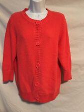 L.L. Bean Women Large Chunky Orange Button Cardigan Sweater 3/4 Length Sleeves