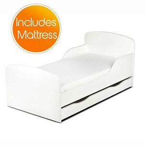 White Wooden Toddler Cotbed With Storage Drawers & Fibre Mattress Kids Bed