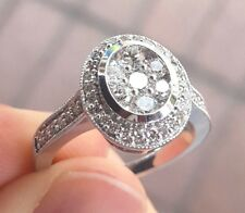 14KW Gold Oval Milgrain Diamond Halo Cluster Engagement Ring Size 7