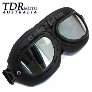 Aviator motorcycle goggles retro vintage style black burning man steampunk