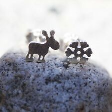 Winter Snowflake Moose Stud Earrings Sterling Silver 925, Tiny Earrings , Canada