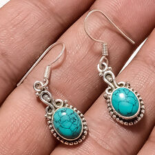 Natural Afghan Turquoise Earrings 925 Sterling Silver Antique Christmas Jewelry