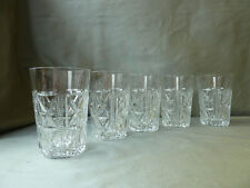 5 vintage whisky/water glasses, not signed Bohemia?, VGC