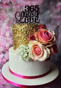365 days of love wooden hand made cake topper