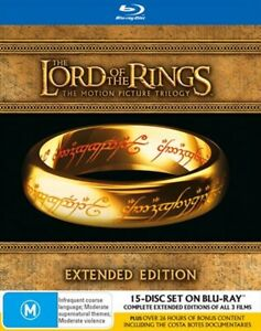THE LORD OF THE RINGS TRILOGY (15 Disc, Blu-Ray DVD Extended) Boxed Set NEW