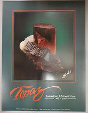 Original 1995 Tucson Gem & Mineral Show Poster Topaz Signed by Jeffrey Scovil