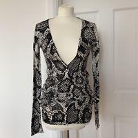 Topshop Snakeskin Print Cardigan Fine Cotton Knit Black White UK 8
