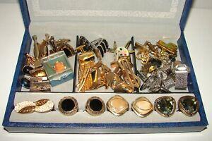 Vintage Huge Lot Cuff Links in Jewelry Box Tie Pins Swank Anson Hickok Shields