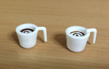 Barbie Doll 2 White Coffee Cappuccino Latte Moca Mug Cup House Accessory Lot