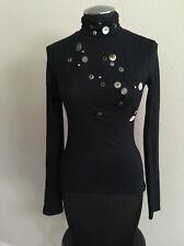 MORGAN DE TOI Women's Long Sleeve Black Turtleneck Jersey Shirt Top Stretch XS