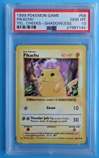 1999 Pokemon Base Set *PIKACHU* Shadowless #58 *Yellow Cheeks* PSA-10!