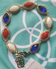 Kendra Scott Jana Red White Blue Gold Bracelet HTF Pouch Fashion RARE July 4