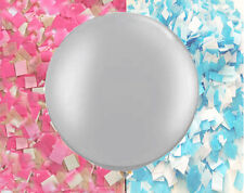 Gender Reveal Balloon in Silver - Giant balloon with confetti