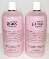 2 Philosophy Amazing Grace Magnolia Shampoo Bath Shower Gel 16 Oz Each 32 Total
