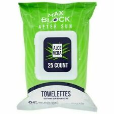 4 X 25Pk Max Block After Sun Soothing Aloe Vera Towelettes Pre-moisturized