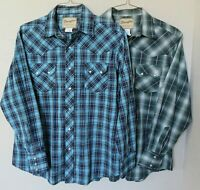 Wrangler Western Rockabilly Pearl Snap Shirts Long Sleeve Green Blue Plaid  L