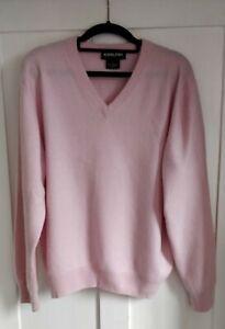 New 100 Percent Cashmere pale pink Kirkland Signature golf sweater size M