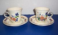Vintage Mikasa Heritage Antiquities 2 Cups & 2 Saucers Floral w/ Blue Trim NICE