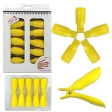 1pk Bow Ribbon Style Yellow Acrylic Nail Soak Off Finger Cap Clips Wrap Tool