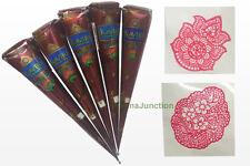 5 Natural Henna Temporary Tattoo Cones + 2 Henna Design Stencils Body Art Kit