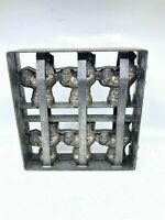Antique Chocolate Mold 6 Roosters Heavy Metal