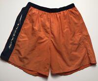 Vintage Speedo Men's Large Orange Swim Trunks Shorts Lined Drawstring Elastic
