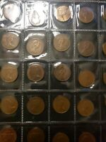 United Kingdom lot of 40 circulated mix of 1 and new penny coins 20.3mm diff com