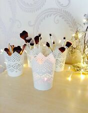SET OF 4 Make Up Brush Holder Pots/Candle Holders White Free Postage & Packing