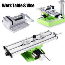 Milling Machine Bench Drill Compound Sliding Work Table w/ Press Vice Clamp Vise
