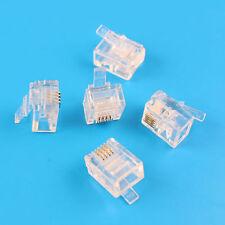 100Pcs RJ11 Connector Modular Phone Plug 6P4C CAT3