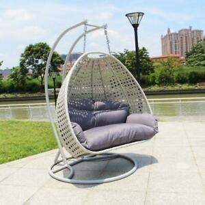 X8037 Double Rattan Swing Two Seater Beige Egg chair Hanging Chair Grey Cushion