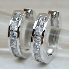 Hot Classical White CZ Gems Jewelry Gold Filled Huggie Lady Gift Earrings H535