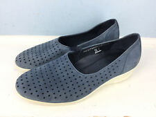 ECCO 38 7.5 8 Perforated Blue Slip On Casual Excellent walking wedge Comfort