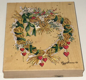 Peggy Abrams Hearts N Mistletoe Wreath Stamps Happen Rubber Stamp 90198