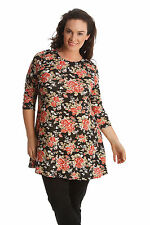 Floral Semi Fitted Scoop Neck 3/4 Sleeve Women's Tops & Shirts