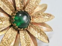 BIG ARTS AND CRAFTS TEXTURED BRASS GREEN GLASS DASIY FLOWER FLORAL PIN BROOCH