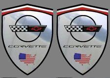 2 adhésifs sticker chrome CORVETTE C4  (idéal ailes avant)