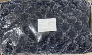 POTTERY BARN Velvet Lattice Stitch Full/Queen F/Q Quilt - Cobalt - NEW Beautiful