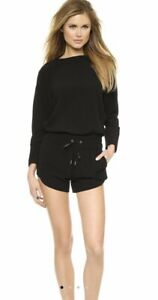 £400 Helmut Lang Black Playsuit Uk 12 L Long Sleeved Shorts Romper 14 Jumpsuit