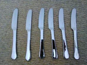 David Mellor 6 Stainless Steel Shiny Silver Side Knives Stamped Modern Hotel 90s