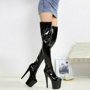 Womens Thigh High Boots Super High Heels Platform Stiletto Shoes Nightclub Party