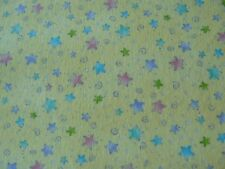 MULTI-COLOR STARS on YELLOW Baby Blanket Quilt Cotton FLANNEL Fabric - BTY