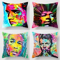 MUSIC LEGENDS Cushion Covers! Retro Hippy Musician Portrait Album Band 45cm Gift