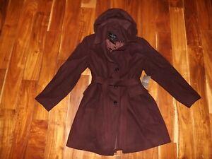 London Fog Womens Burgundy Belted Peacoat Coat Jacket NWT Size S Small